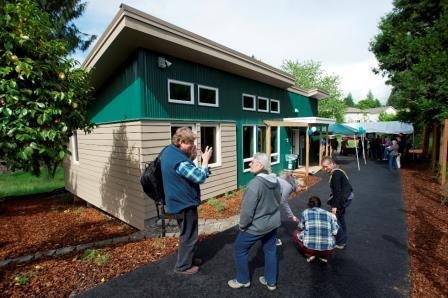 The Planet Clark Emerald House was avaliable for tours during an open house and dedication, Friday, May 24, 2013. The Evergreen Habitat for Humanity project featured many environmentally friendly features. (Steven Lane/The Columbian)
